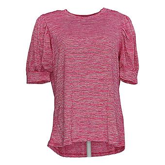 DG2 por Diane Gilman Women's Top Striped Balloon-Sleeve Tee Pink 697-877