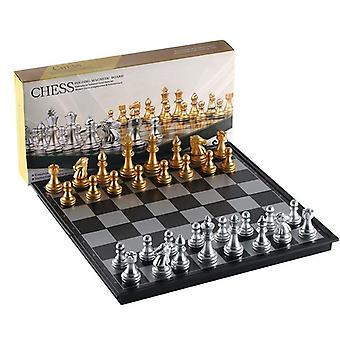 Folding Magnetic Travel Chess Set- Kids Or Adults Chess Board Game, 25x25cm