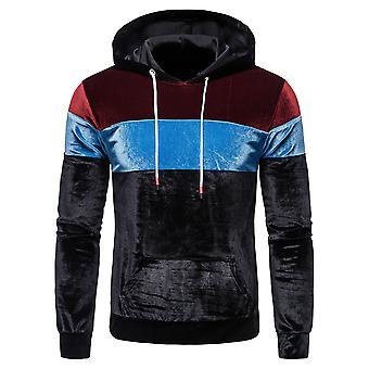 Allthemen Men's Thick Hooded Sweatshirt Contrast Color Pullover Casual Sweatshirt