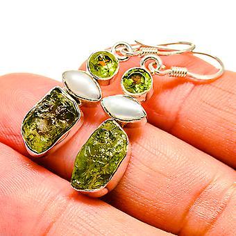 """Rough Peridot, Cultured Pearl Earrings 1 5/8"""" (925 Sterling Silver)  - Handmade Boho Vintage Jewelry EARR408014"""