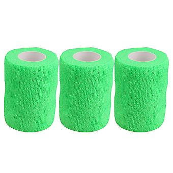 3Pieces Breathable Wrist Bandages Self-Adherent Tape Width 2.91Inch Green