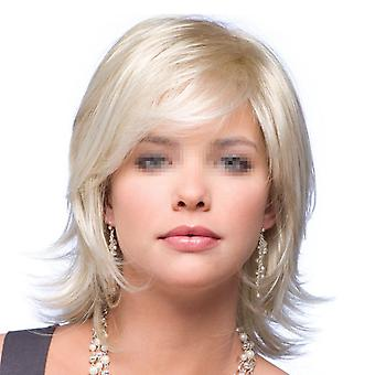 Golden Short Straight Hair Wig Cap