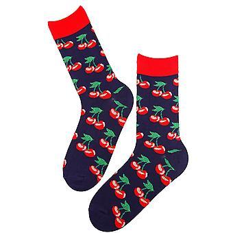 Kiraz Baskılı Pamuk Çorap