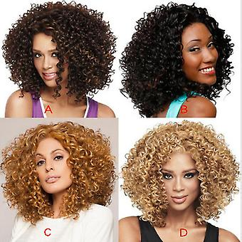 Women's Περούκα Γυναίκες's Μαύρο Κοντό Σγουρό Μαλλιά Συνθετικές Περούκες
