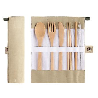 7 Pack Bamboo Travel Utensils Set  Eco-Friendly Reusable Bamboo Cutlery Set