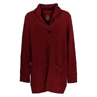 Cuddl Duds Women's Sweater Comfortwear Shawl Collar Cardi Red A368207