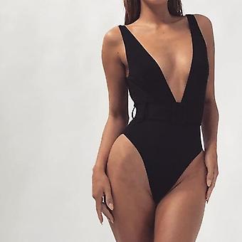 Sexy Solid Deep-v Swimwear Summer Bathing Suit