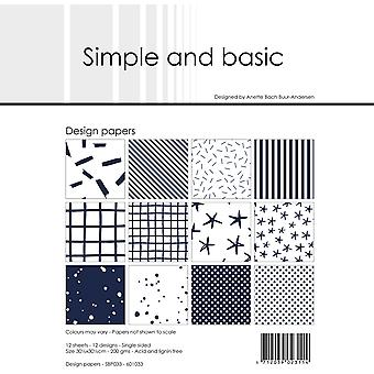 Simple and Basic Dark Blue 12x12 Inch Paper Pack