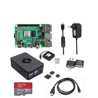 Pi-4モデルラムケース、ファン、ヒートシンク、電源アダプタ、SDカード、Hdmiケーブル