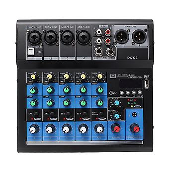 Professional 6 Channel Stereo USB Live Mixing Studio Audio Sound Mixer Console