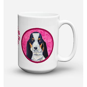 Caroline's Treasures LH9374PK-CM15 Basset Hound Microwavable Ceramic Coffee Mug, 15 oz, Multicolor