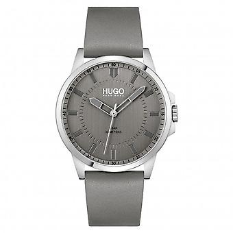HUGO 1530185 First Silver & Grey Leather Men's Watch