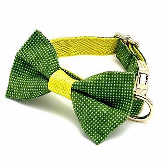Colletto per cani polka verde e giallo e papillon