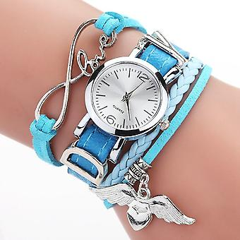 Duoya Brand Watches Silver Heart Pendant Leather Belt Quartz Clock