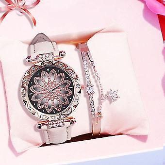 De lux Starry Sky Femei Brățară Ceas, piele cuarț ceas de mână