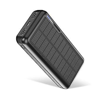 Kuulaa Wireless Solar Power Bank with 4 Ports 20.000mAh - LED Indicator External Emergency Battery Charger Charger Sun Black