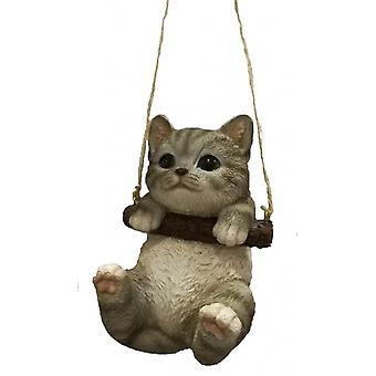cat 15.1 x 10.6 cm polyresin grey