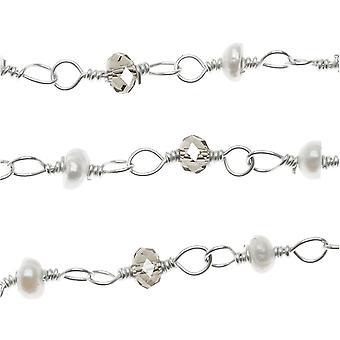 Draad verpakt edelsteen ketting, parel &smokey quartz, sterling zilver, door de inch