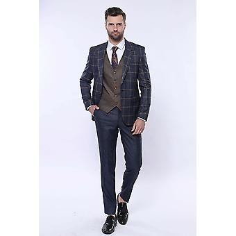 Blue brown checked suit | wessi