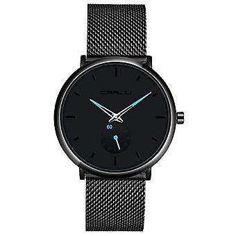 SUPBRO Minimalist quartz thin men's watches with black mesh strap(3)