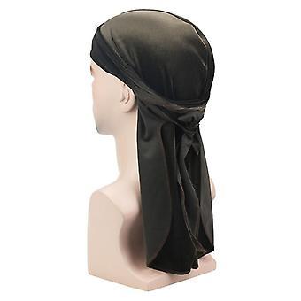 Homens Long Tail Hip Hop Turban Hat Velvet Headbands