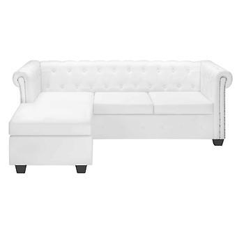 vidaXL Chesterfield Sofa in L-Form Kunstleder Weiß