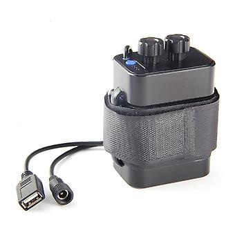 Svart 6-spors litiumbatterilader 18650 vanntett batteriboks usb 5v utgang batteripakke az8480