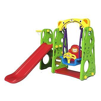 Trädgårdslekutrustning med slide swing & basketnät - 150 x 160 cm