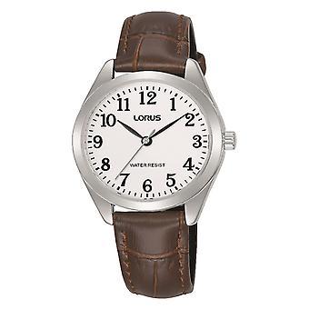 Lorus RG241TX9 Ladies Easy Reader Silver Case Brown Leather Strap Watch