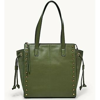 Fossil Brooklyn Shopper Green Leather Studded Tote SHB2673350