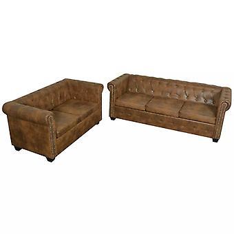 vidaXL Chesterfield Sofa-Set 2-Sitzer und 3-Sitzer Kunstleder Braun
