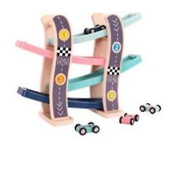 منحدر سباق المسار اللعب مع سيارات خشبية صغيرة للأطفال والأطفال الصغار