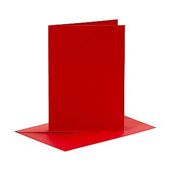 6 Cartões Vermelhos A6 e Envelopes para Fazer Artesanato de Cartões | Cartão fazendo espaços em branco