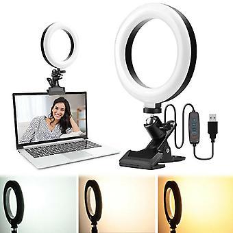 "4"" LED Dimmable Ring Light Selfie Clamp for Vlog Live Broadcast Selfie Makeup"
