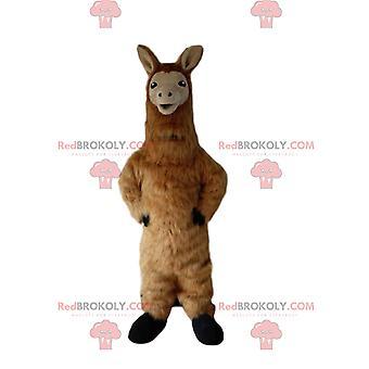 Mascota REDBROKOLY.COM de llama, disfraz de alpaca, disfraz de llama