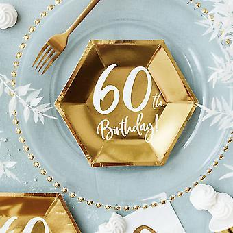 ゴールド60歳の誕生日パーティー紙皿パーティーウェア食器20cm×6