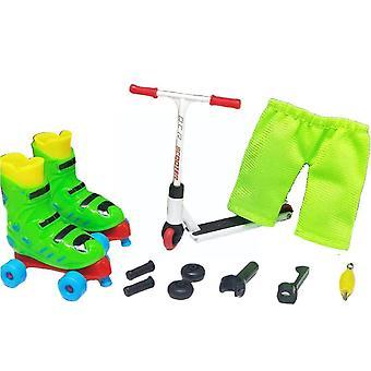 1 Set Mini Skateboard Finger Spielzeug für KinderMit Werkzeugen Spielzeug Spaß und Hose Roller Old Skat (Grün)