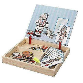 Wooden blocks wooden magnetic puzzle multifunctional toys figure drawing board wood educational toy|magnetic