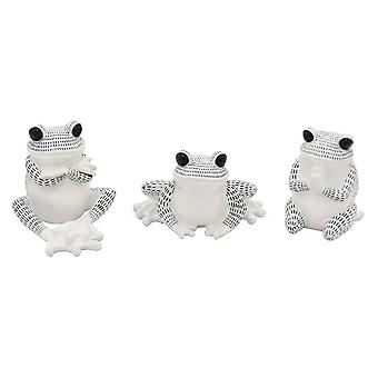 Plutus Brands Frog Sitting in White Resin Set of 3