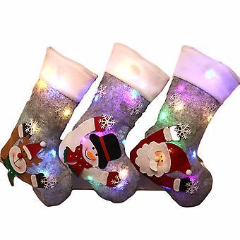 Homemiyn جوارب عيد الميلاد مع ضوء Led - جوارب عيد الميلاد شخصية هدية حقيبة الموقد شنقا تخزين الرمادي