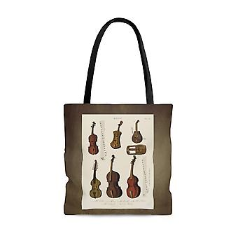 Premium polyester tote bag - vintage art #201 antique music instrument art | artsy tote bag, graphic tote bag, aesthetic tote bag