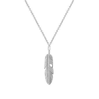 Silver Feather Pendant With Chain Necklace Gypsy Long Necklace