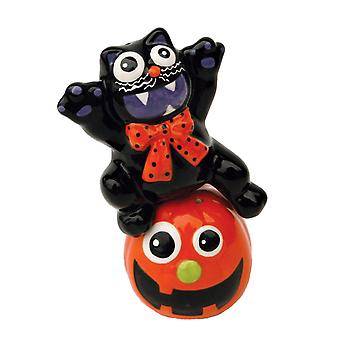 Halloween Jack-O-Lantern Black Cat Magnetic Ceramic Salt and Pepper Shaker Set