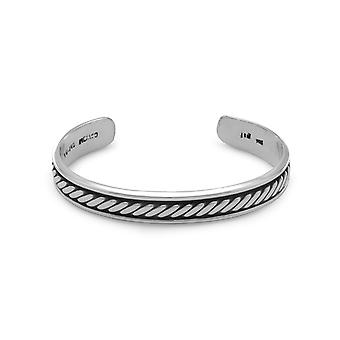 925 Sterling Silver Oxidized Mens 10mm Cuff Bracelet With Rope Design