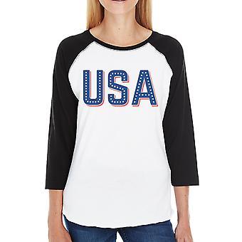 USA med stjerner søde USA brev trykt dame bomuld Baseball Tee