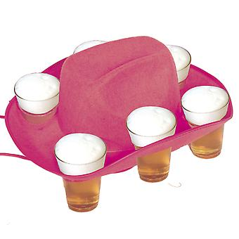 Bere pălărie bere cana pălărie roz pentru 6 pahare tava Oktoberfest cowboy pălărie