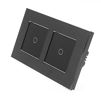 I LumoS Black Brushed Aluminium Double Frame 2 Gang 1 Way Touch Dimmer LED Light Switch Black Insert
