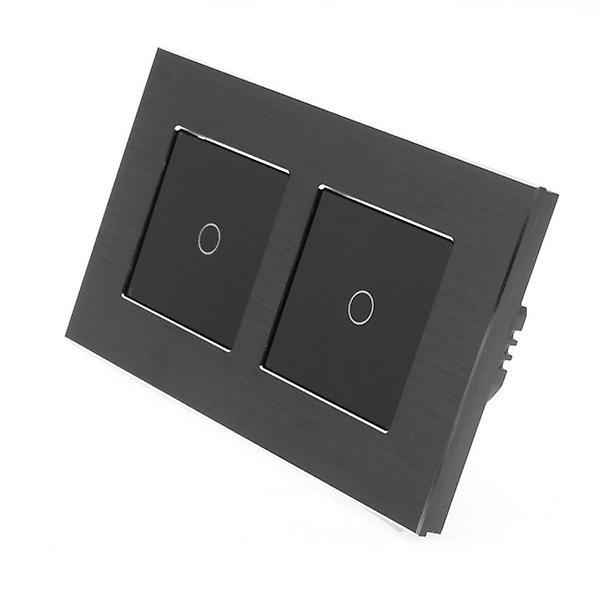 I LumoS Black Brushed Double Frame Aluminium 2 Gang 1 Way Touch LED Light Switch Black Insert