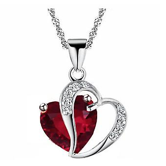 Boolavard® TM Fashion Osterreic Czech Crystal Heart Shape Pendant Necklace + Gift Box Ruby-Red  …