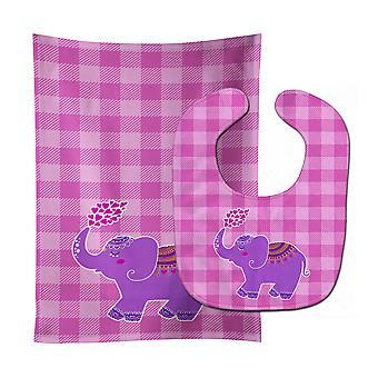 Carolines Treasures  BB7161STBU Purple Elephant Baby Bib & Burp Cloth